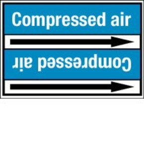 Стрелка для маркировки трубопровода Brady, белый на синем, 40-83 мм, «low pressure air», 37x284 мм, b-7529, 3 шт, 20 мм