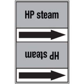 Стрелка для маркировки трубопровода Brady, черный на сером, «overheated steam», 100x33000 мм, b-7529, 550 шт, 8 мм