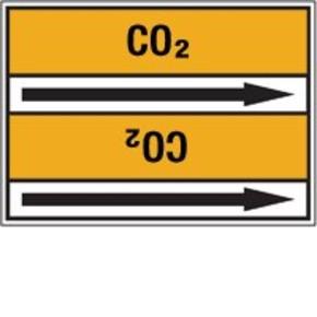 Стрелка для маркировки трубопровода Brady, черный на желтом, 40-83 мм, «cooling gas», 37x284 мм, b-7529, 3 шт, 20 мм