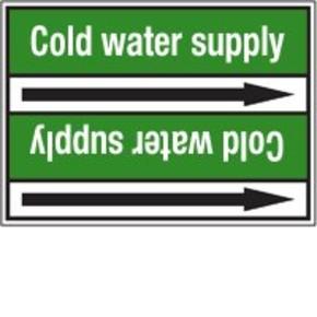 Стрелка для маркировки трубопровода Brady, белый на зеленом, 25-27 мм, «condensate water supply», 26x200 мм, b-7529, 3 шт, 12,5 мм