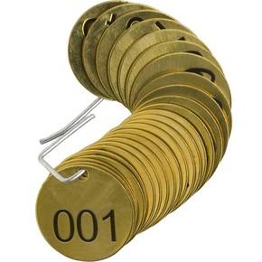 Бирка для маркировки клапанов пронумерованные Brady бирки,1-25, 38 мм, латунь, 25 шт