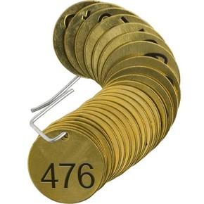 Бирки для маркировки клапанов пронумерованные Brady 476-500, 38 мм, латунь, 25 шт