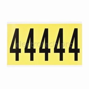 Цифра 4 Brady 4,25 карт, черный на желтом, 5 шт, 44x127 мм, Нейлон, b-499