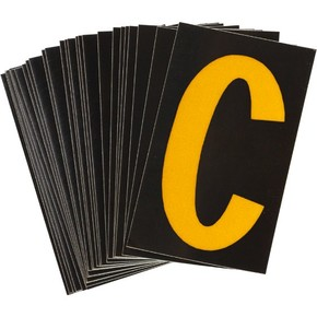 Буква C светоотражающая Brady, желтый на черном, 42x72 мм, b-946, Винил, 25 шт.