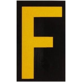 Буква F светоотражающая Brady, желтый на черном, 42x72 мм, b-946, Винил, 25 шт.