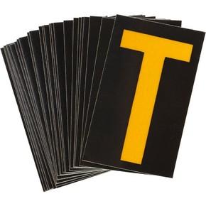 Буква T светоотражающая Brady, желтый на черном, 42x72 мм, b-946, Винил, 25 шт.