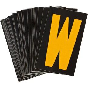 Буква W светоотражающая Brady, желтый на черном, 42x72 мм, b-946, Винил, 25 шт.
