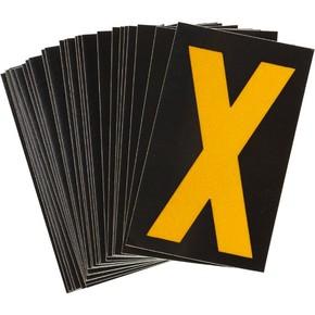 Буква X светоотражающая Brady, желтый на черном, 42x72 мм, b-946, Винил, 25 шт.