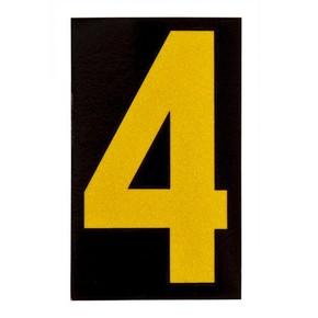 Цифра 4 Brady, желтый на черном, 38 шт, 35x48 мм, b-946, Винил, 25 шт.