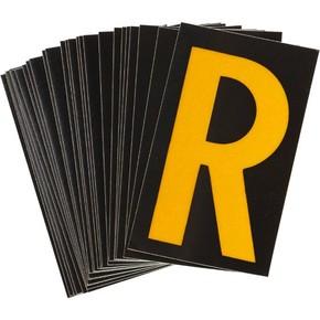 Буква R Brady, желтый на черном, 38 шт, 35x48 мм, b-946, Винил, 25 шт.