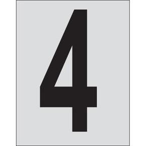 Цифра 4 Brady, черный на серебряном,белом, 25 шт, 25x38 мм, b-946, Винил, 25 шт.