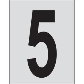 Цифра 5 Brady, черный на серебряном,белом, 25 шт, 25x38 мм, b-946, Винил, 25 шт.