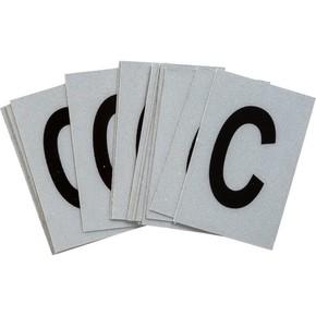 Буква C Brady, черный на серебряном,белом, 6 шт, 38x89 мм, b-946, Винил, 25 шт.