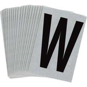Буква W Brady, черный на серебряном,белом, 6 шт, 38x89 мм, b-946, Винил, 25 шт.