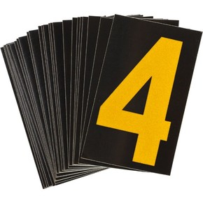 Цифра 4 Brady, желтый на черном, 25 шт, 25x38 мм, b-946, Винил, 25 шт.