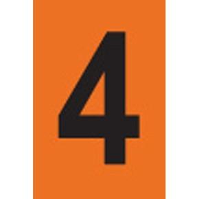 Цифра 4 Brady, черный на оранжевом, 25 шт, 25x38 мм, b-946, Винил, 25 шт.