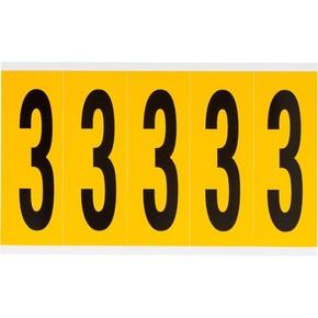 Цифра 3 Brady, черный на желтом, 5 шт, 44x127 мм, 25 шт.