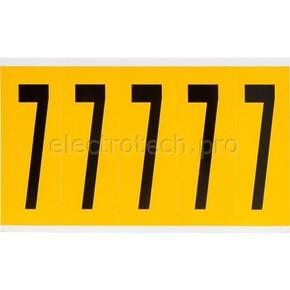 Цифра 7 Brady, черный на желтом, 5 шт, 44x127 мм, 25 шт.