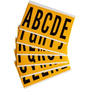 Буквы на карте Brady букв,25 карт /,материал в-946, черный на желтом, 44x127 мм, Комплект, 5 шт