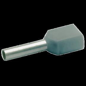 Двойной втулочный изолированный наконечник Klauke 87010, 2 × 0,75 мм², длина втулки 10 мм, серый