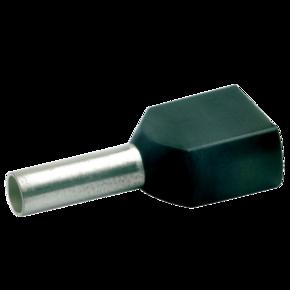 Двойной втулочный изолированный наконечник Klauke 87212, 2 × 1,5 мм², длина втулки 12 мм, черный