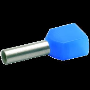 Двойной втулочный изолированный наконечник Klauke 87310, 2 × 2,5 мм², длина втулки 10 мм, голубой