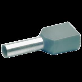 Двойной втулочный изолированный наконечник Klauke 87412, 2 × 4 мм², длина втулки 12 мм, серый