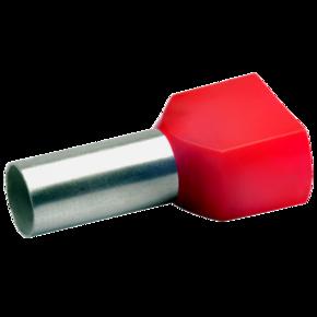 Двойной втулочный изолированный наконечник Klauke 87614, 2 × 10 мм², длина втулки 14 мм, красный