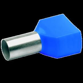 ДвойнойвтулочныйизолированныйнаконечникKlauke 87714,2×16мм²,длинавтулки14мм,голубой