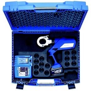 """Комплект в пластиковом кейсе Klauke EK6022LSETR: пресс EK6022L и 10 пресс-матриц серии """"22"""""""