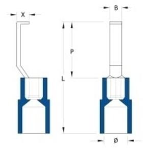 Кабельный наконечник изолированный 1.5мм-2.5мм HBT/2,5/4,6/BL