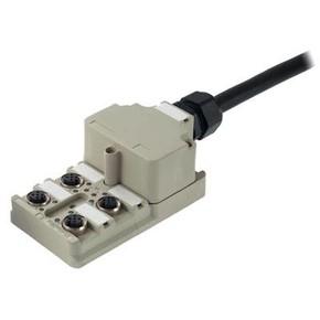 Концентратор M12 сигналов пассивный распределитель (Вариант с крышкой) SAI/4/MF/5P/PUR/10M