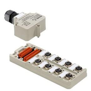 Концентратор M12 сигналов пассивный распределитель (Вариант с крышкой Ex) SAI/8/M/4P/M12/Ex/ia