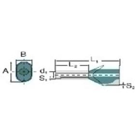 Кабельный наконечник без изоляции двойной H1,0/15S/ZH/GE