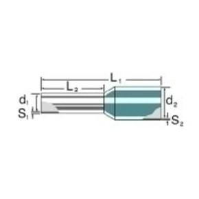 Кабельный наконечник изолированный без/изоляции/H2,5/24/XS/BL