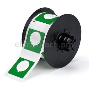 Маркировка под кнопку B30EP-169-593-GN, зелёный материал B-593 EPREP, 45,72 * 45,72 мм, диаметр отверстия 30,5 мм, выемка, 190 шт. (BBP31/33/35/37)