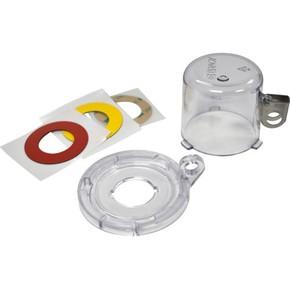 Блокираторы кнопки средний Brady блокиратор с основанием 22 мм,высота колпачка 50 мм,3 наклейки:, белая,желтая,красная,прозрачный, Комплект