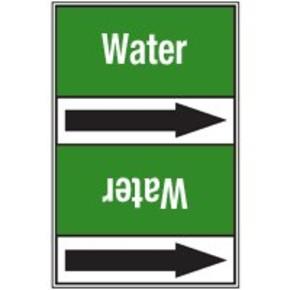Ленты самоклеящиеся Brady с одной половиной двухцветной,другой - с текстом и стрелкой направления потока, коричневый на зеленом, «sanitary sea water», 225x15000 мм, b-7541
