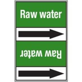 Ленты самоклеящиеся Brady с одной половиной двухцветной,другой - с текстом и стрелкой направления потока, зеленый на красном, «fire fighting sea water», 225x15000 мм, b-7541