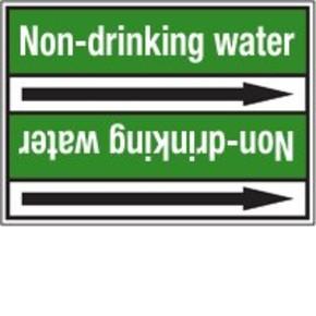 Стрелка для маркировки трубопровода Brady, белый на зеленом, «polluted water», 100x33000 мм, b-7529, 220 шт, 13 мм