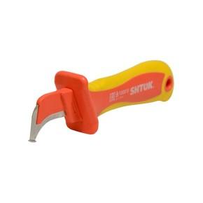 Нож SHTOK 1000В для снятия изоляции с пяткой и частично изолированным лезвием
