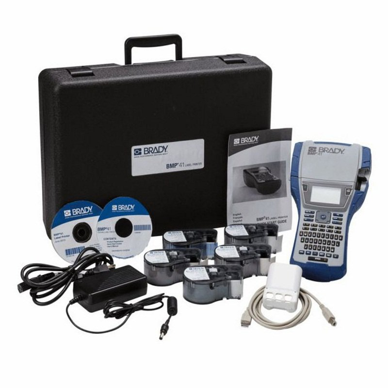 Принтер термотрансферный портативный Brady bmp41,: жесткий кейс,аккумуляторная батарея bmp41-batt,mc1-1000-595-wt-bk,usb кабель,шнур питания eu, Комплект