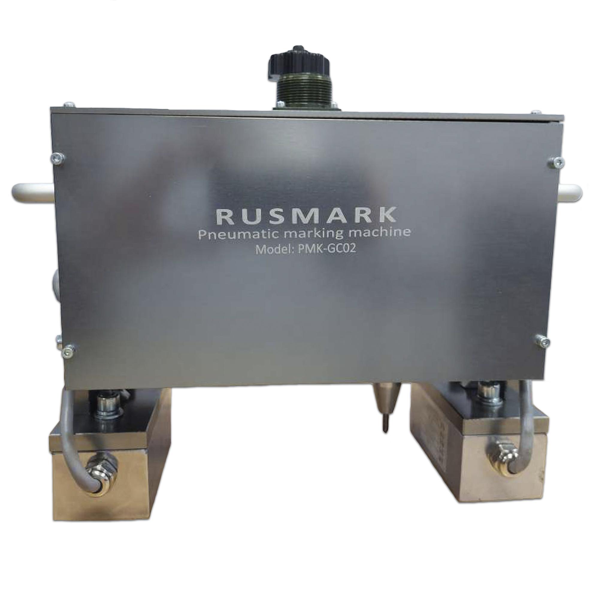 Портативный пневматический ударно-точечный маркиратор RUSMARK PMK-GC02, LCD экран, ПО Kingmark, окно 130*30мм, с магнитами